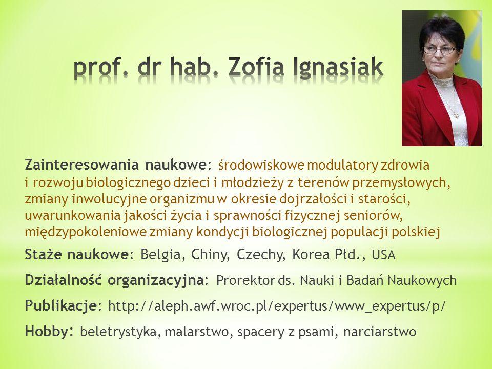Zainteresowania naukowe: środowiskowe modulatory zdrowia i rozwoju biologicznego dzieci i młodzieży z terenów przemysłowych, zmiany inwolucyjne organi