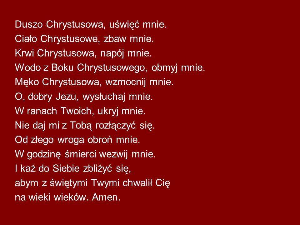 Duszo Chrystusowa, uświęć mnie. Ciało Chrystusowe, zbaw mnie. Krwi Chrystusowa, napój mnie. Wodo z Boku Chrystusowego, obmyj mnie. Męko Chrystusowa, w