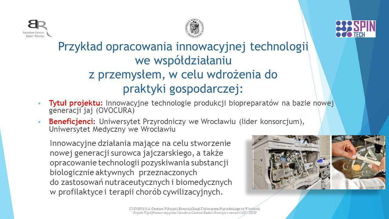 Przykład opracowania innowacyjnej technologii we współdziałaniu z przemysłem, w celu wdrożenia do praktyki gospodarczej:  Tytuł projektu: Innowacyjne