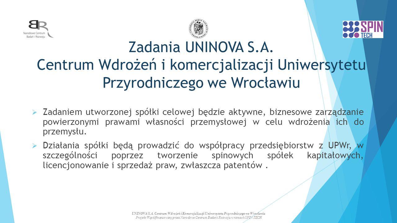 Zadania UNINOVA S.A. Centrum Wdrożeń i komercjalizacji Uniwersytetu Przyrodniczego we Wrocławiu  Zadaniem utworzonej spółki celowej będzie aktywne, b