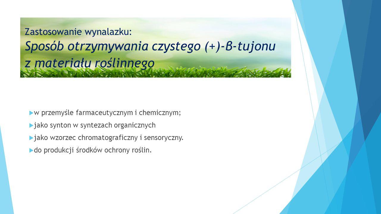 Zastosowanie wynalazku: Sposób otrzymywania czystego (+)-β-tujonu z materiału roślinnego  w przemyśle farmaceutycznym i chemicznym;  jako synton w syntezach organicznych  jako wzorzec chromatograficzny i sensoryczny.