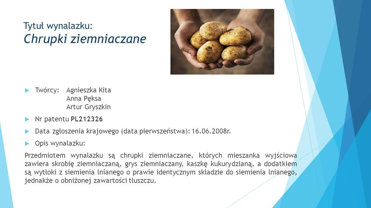  Twórcy:Agnieszka Kita Anna Pęksa Artur Gryszkin  Nr patentu PL212326  Datazgłoszenia krajowego (data pierwszeństwa):16.06.2008r.  Opis wynalazku: