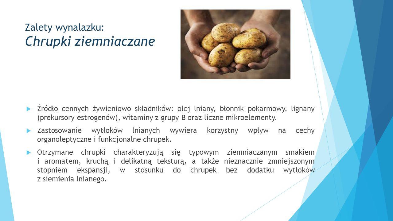 Zalety wynalazku: Chrupki ziemniaczane  Źródło cennych żywieniowo składników: olej lniany, błonnik pokarmowy, lignany (prekursory estrogenów), witaminy z grupy B oraz liczne mikroelementy.