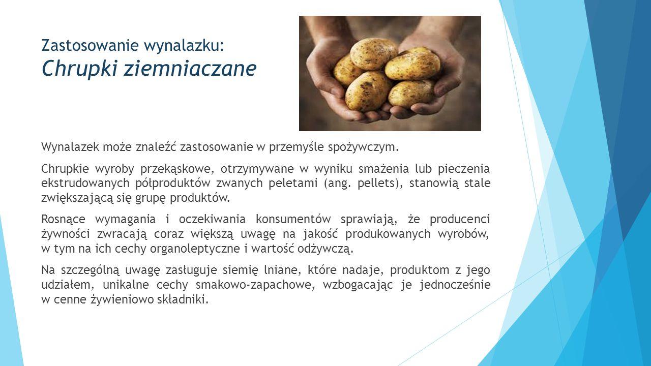 Zastosowanie wynalazku: Chrupki ziemniaczane Wynalazek może znaleźć zastosowanie w przemyśle spożywczym. Chrupkie wyroby przekąskowe, otrzymywane w wy