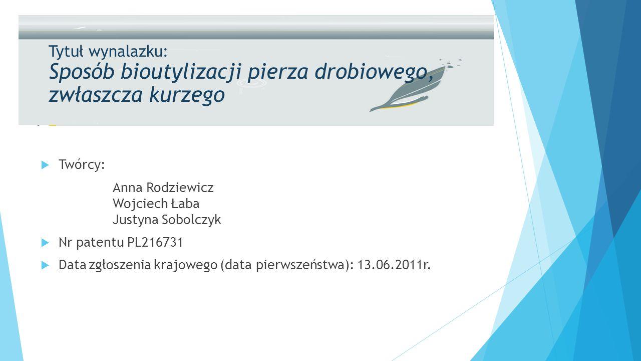Tytuł wynalazku: Sposób bioutylizacji pierza drobiowego, zwłaszcza kurzego  Twórcy: Anna Rodziewicz Wojciech Łaba Justyna Sobolczyk  Nr patentu PL216731  Datazgłoszenia krajowego (data pierwszeństwa): 13.06.2011r.