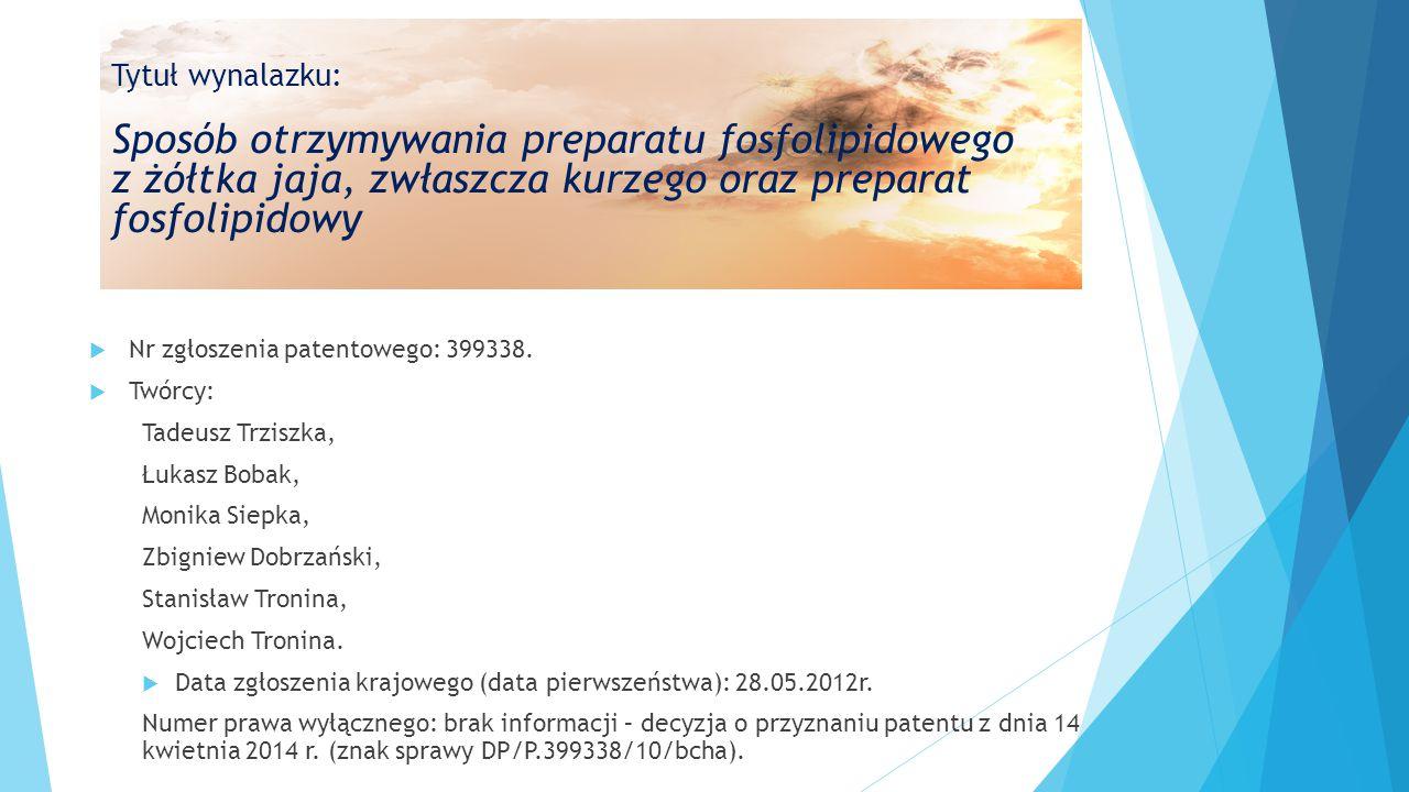  Nr zgłoszenia patentowego: 399338.  Twórcy: Tadeusz Trziszka, Łukasz Bobak, Monika Siepka, Zbigniew Dobrzański, Stanisław Tronina, Wojciech Tronina