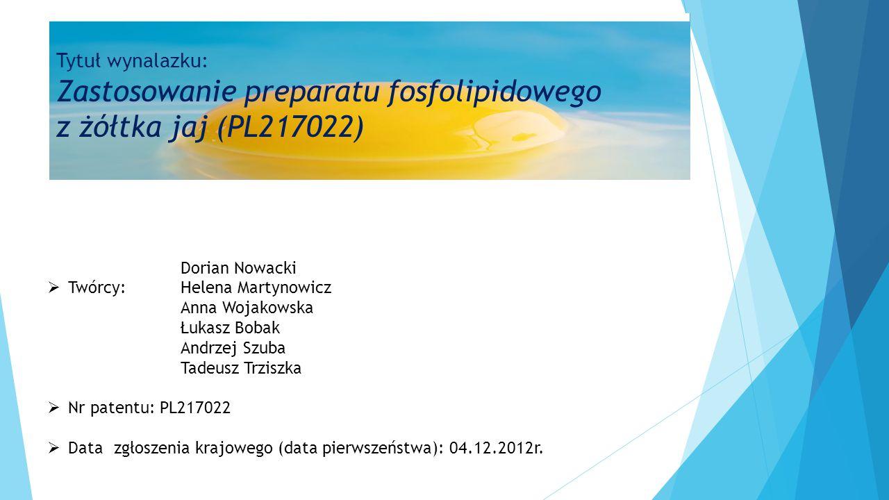 Dorian Nowacki  Twórcy:Helena Martynowicz Anna Wojakowska Łukasz Bobak Andrzej Szuba Tadeusz Trziszka  Nr patentu: PL217022  Datazgłoszenia krajowe