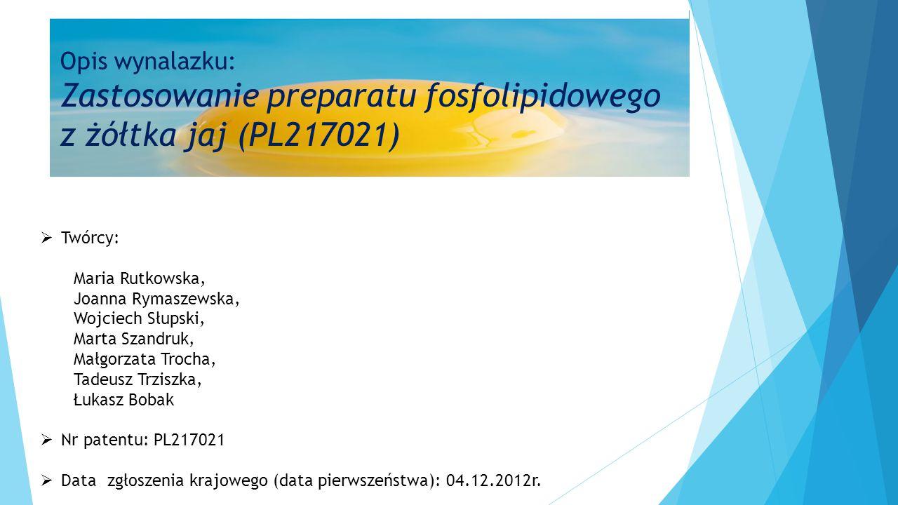  Twórcy: Maria Rutkowska, Joanna Rymaszewska, Wojciech Słupski, Marta Szandruk, Małgorzata Trocha, Tadeusz Trziszka, Łukasz Bobak  Nr patentu: PL217