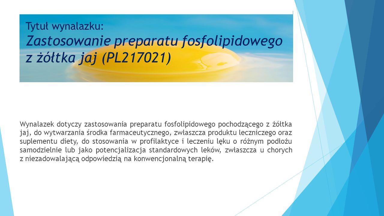 Wynalazek dotyczy zastosowania preparatu fosfolipidowego pochodzącego z żółtka jaj, do wytwarzania środka farmaceutycznego, zwłaszcza produktu leczniczego oraz suplementu diety, do stosowania w profilaktyce i leczeniu lęku o różnym podłożu samodzielnie lub jako potencjalizacja standardowych leków, zwłaszcza u chorych z niezadowalającą odpowiedzią na konwencjonalną terapię.