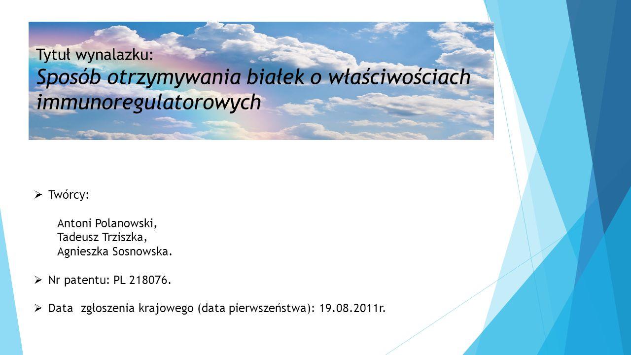  Twórcy: Antoni Polanowski, Tadeusz Trziszka, Agnieszka Sosnowska.  Nr patentu: PL 218076.  Datazgłoszenia krajowego (data pierwszeństwa): 19.08.20