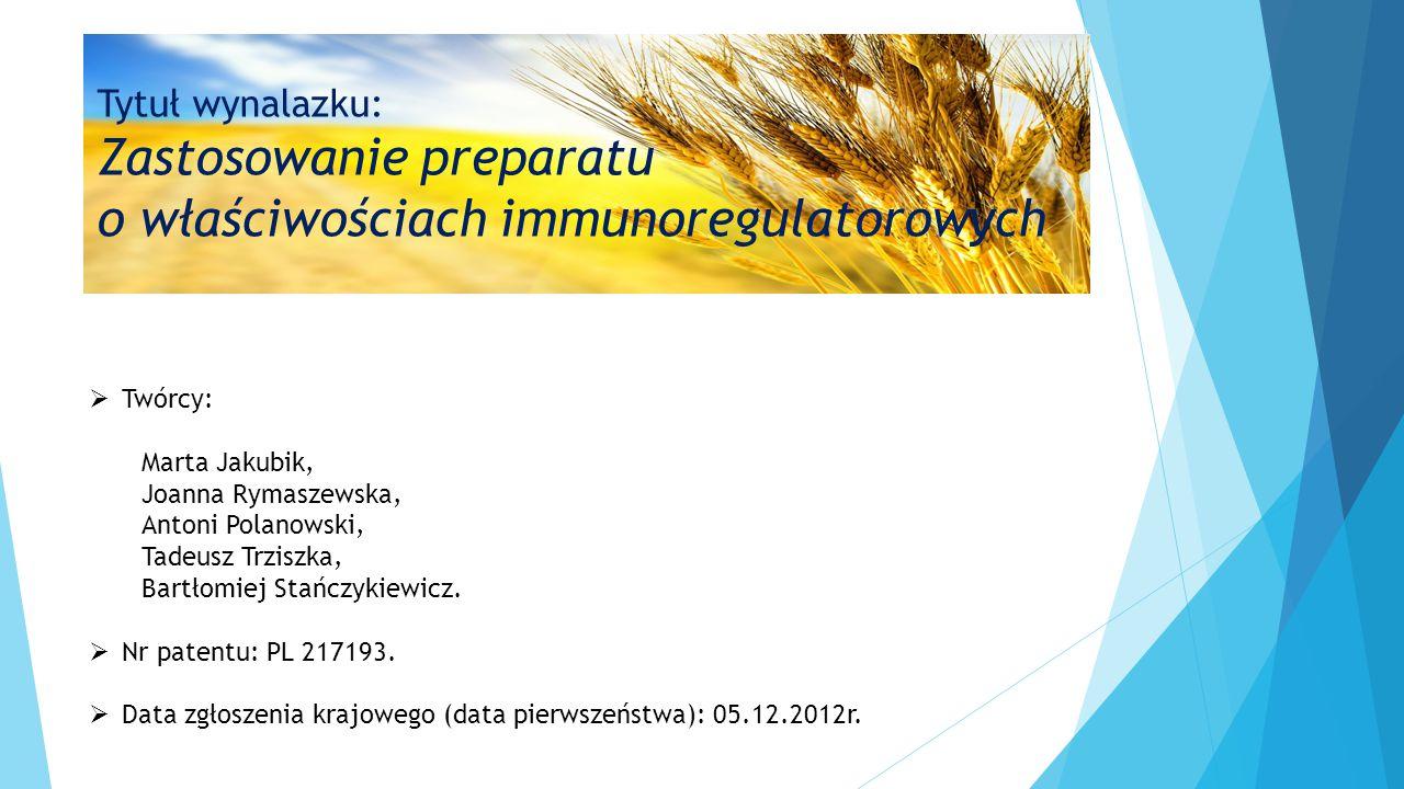  Twórcy: Marta Jakubik, Joanna Rymaszewska, Antoni Polanowski, Tadeusz Trziszka, Bartłomiej Stańczykiewicz.  Nr patentu: PL 217193.  Data zgłoszeni