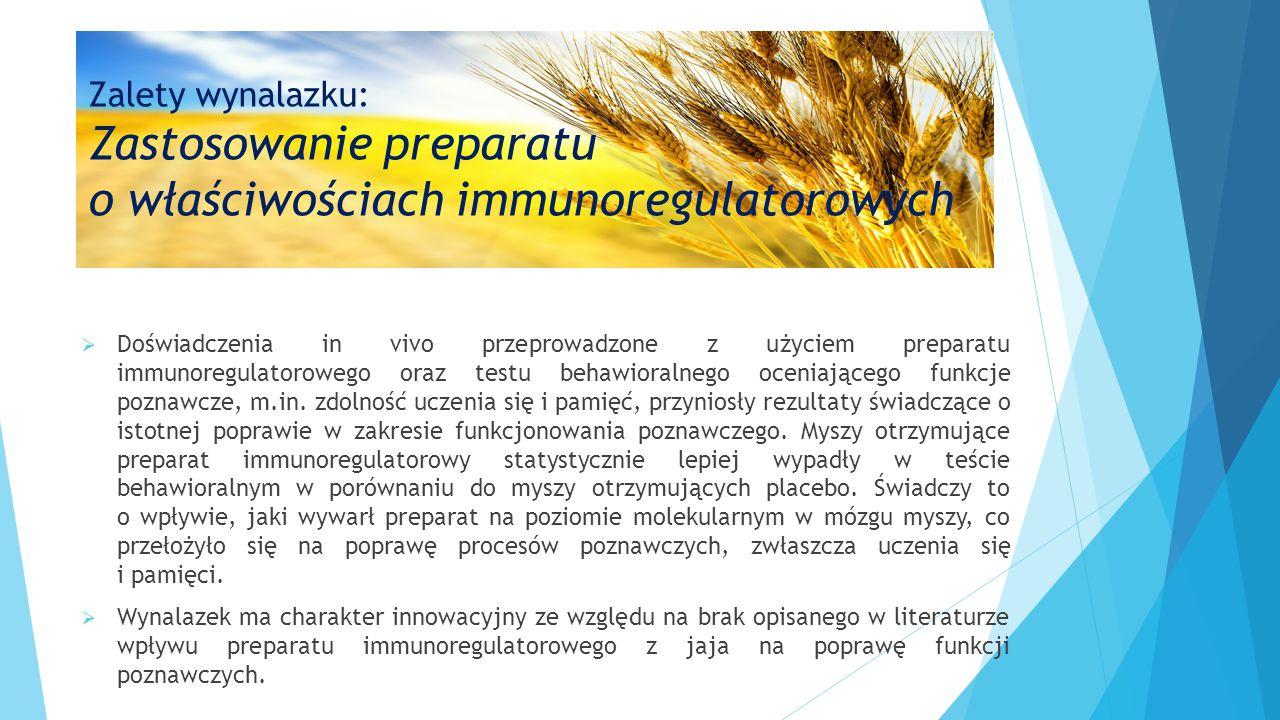 Zalety wynalazku: Zastosowanie preparatu o właściwościach immunoregulatorowych  Doświadczenia in vivo przeprowadzone z użyciem preparatu immunoregulatorowego oraz testu behawioralnego oceniającego funkcje poznawcze, m.in.