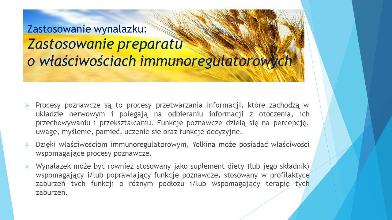Zastosowanie wynalazku: Zastosowanie preparatu o właściwościach immunoregulatorowych  Procesy poznawcze są to procesy przetwarzania informacji, które
