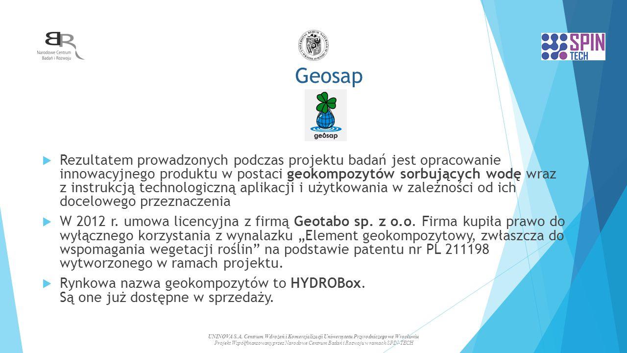 Geosap  Rezultatem prowadzonych podczas projektu badań jest opracowanie innowacyjnego produktu w postaci geokompozytów sorbujących wodę wraz z instrukcją technologiczną aplikacji i użytkowania w zależności od ich docelowego przeznaczenia  W 2012 r.