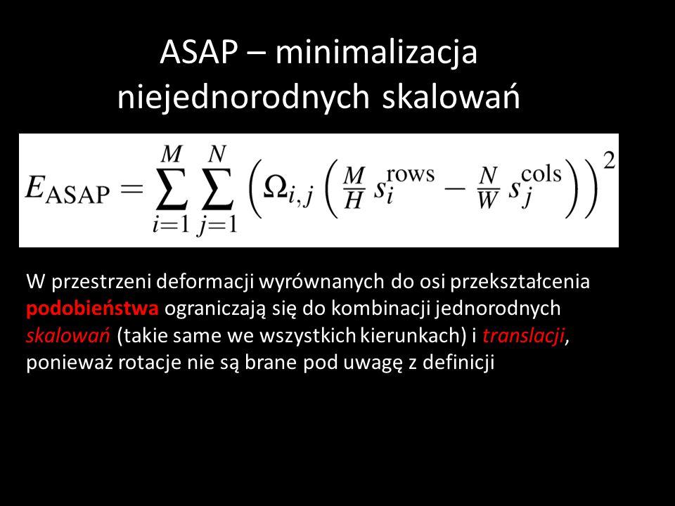 ASAP – minimalizacja niejednorodnych skalowań W przestrzeni deformacji wyrównanych do osi przekształcenia podobieństwa ograniczają się do kombinacji jednorodnych skalowań (takie same we wszystkich kierunkach) i translacji, ponieważ rotacje nie są brane pod uwagę z definicji