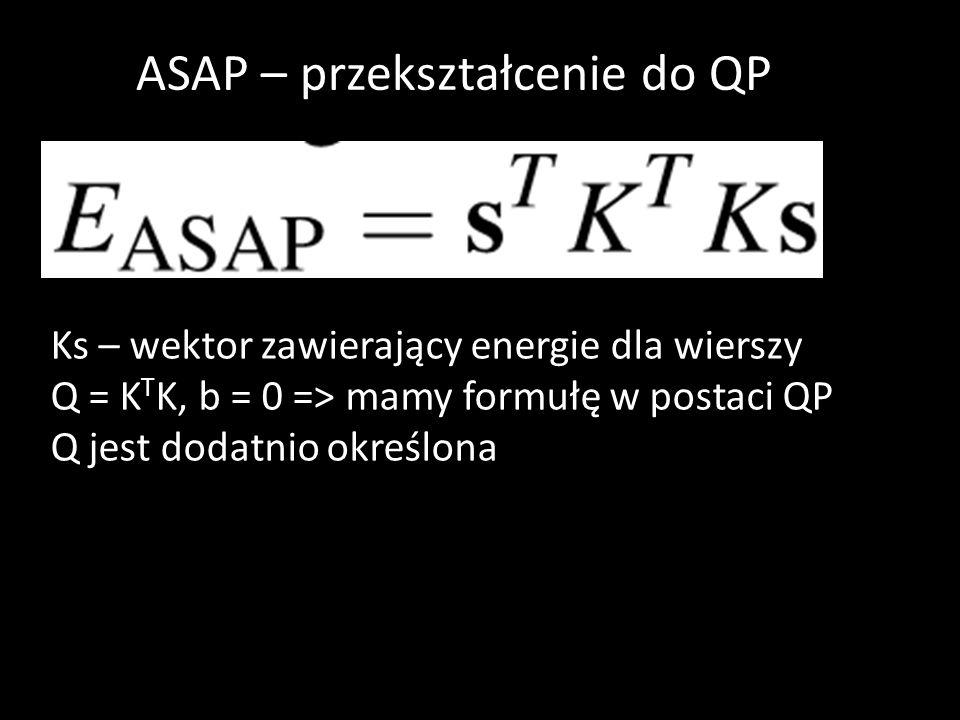 Ks – wektor zawierający energie dla wierszy Q = K T K, b = 0 => mamy formułę w postaci QP Q jest dodatnio określona