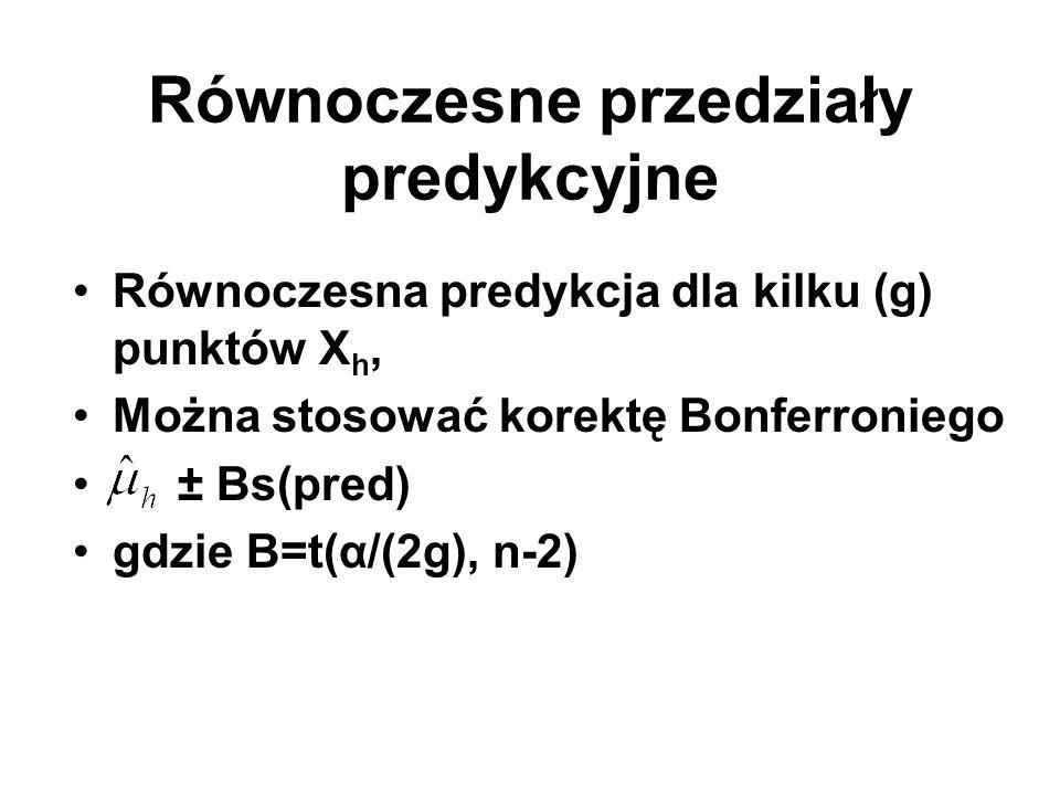 Równoczesne przedziały predykcyjne Równoczesna predykcja dla kilku (g) punktów X h, Można stosować korektę Bonferroniego ± Bs(pred) gdzie B=t(α/(2g),