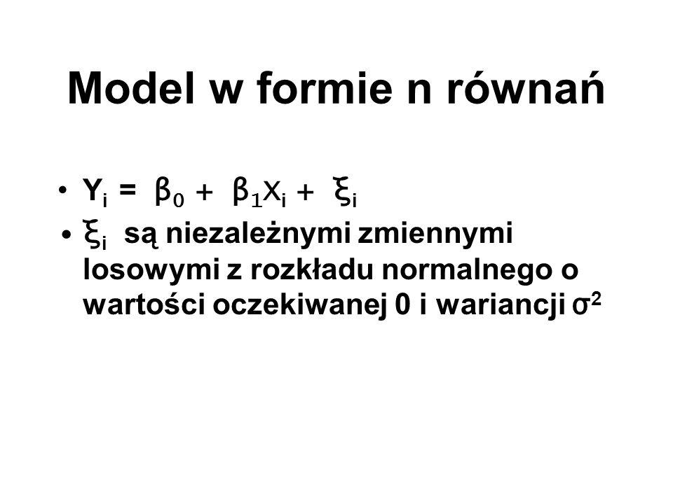 Model w formie n równań Y i = β 0 + β 1 X i + ξ i ξ i są niezależnymi zmiennymi losowymi z rozkładu normalnego o wartości oczekiwanej 0 i wariancji σ
