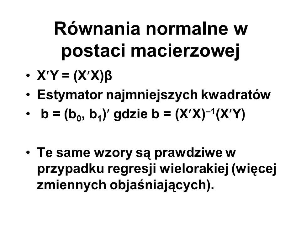 Równania normalne w postaci macierzowej XY = (XX)β Estymator najmniejszych kwadratów b = (b 0, b 1 ) gdzie b = (XX) –1 (XY) Te same wzory są prawdziwe