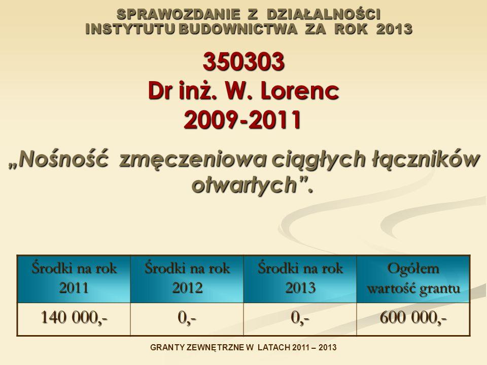 """SPRAWOZDANIE Z DZIAŁALNOŚCI INSTYTUTU BUDOWNICTWA ZA ROK 2013 350303 Dr inż. W. Lorenc 2009-2011 """"Nośność zmęczeniowa ciągłych łączników otwartych"""". Ś"""