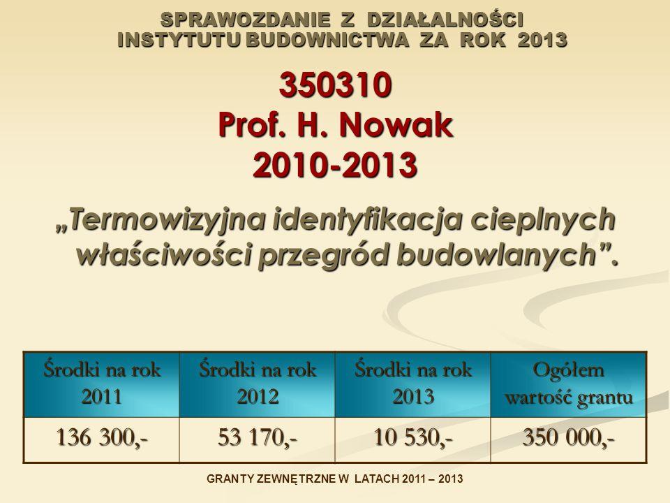 """SPRAWOZDANIE Z DZIAŁALNOŚCI INSTYTUTU BUDOWNICTWA ZA ROK 2013 350310 Prof. H. Nowak 2010-2013 """"Termowizyjna identyfikacja cieplnych właściwości przegr"""