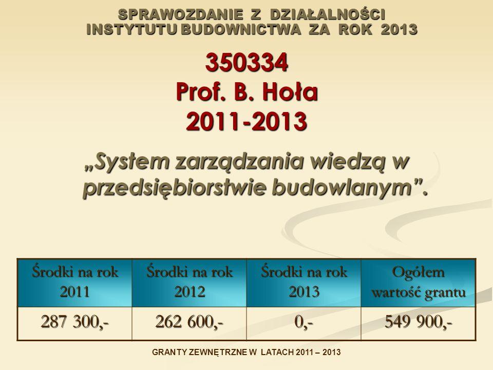"""SPRAWOZDANIE Z DZIAŁALNOŚCI INSTYTUTU BUDOWNICTWA ZA ROK 2013 350334 Prof. B. Hoła 2011-2013 """"System zarządzania wiedzą w przedsiębiorstwie budowlanym"""