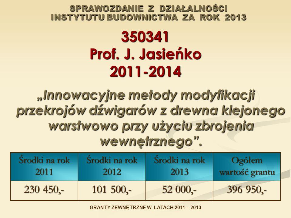 """SPRAWOZDANIE Z DZIAŁALNOŚCI INSTYTUTU BUDOWNICTWA ZA ROK 2013 350341 Prof. J. Jasieńko 2011-2014 """"Innowacyjne metody modyfikacji przekrojów dźwigarów"""