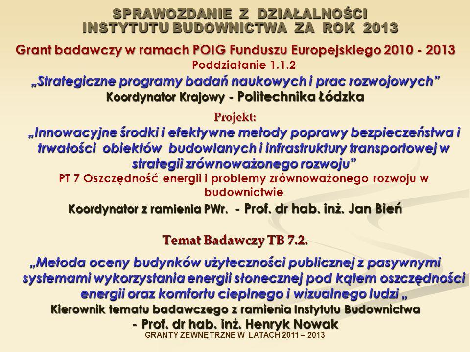 """SPRAWOZDANIE Z DZIAŁALNOŚCI INSTYTUTU BUDOWNICTWA ZA ROK 2013 Grant badawczy w ramach POIG Funduszu Europejskiego2010 - 2013 Grant badawczy w ramach POIG Funduszu Europejskiego 2010 - 2013 Poddziałanie 1.1.2 """"Strategiczne programy badań naukowych i prac rozwojowych Koordynator Krajowy - Politechnika Łódzka Projekt: """"Innowacyjne środki i efektywne metody poprawy bezpieczeństwa i trwałości obiektów budowlanych i infrastruktury transportowej w strategii zrównoważonego rozwoju Projekt: """"Innowacyjne środki i efektywne metody poprawy bezpieczeństwa i trwałości obiektów budowlanych i infrastruktury transportowej w strategii zrównoważonego rozwoju PT 7 Oszczędność energii i problemy zrównoważonego rozwoju w budownictwie Koordynator z ramienia PWr."""