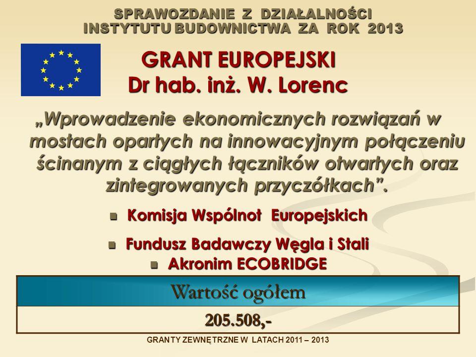 SPRAWOZDANIE Z DZIAŁALNOŚCI INSTYTUTU BUDOWNICTWA ZA ROK 2013 GRANT EUROPEJSKI Dr hab.