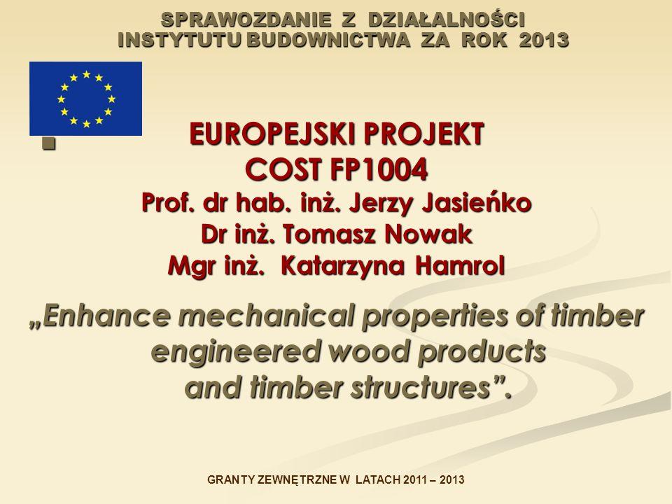 SPRAWOZDANIE Z DZIAŁALNOŚCI INSTYTUTU BUDOWNICTWA ZA ROK 2013 EUROPEJSKI PROJEKT COST FP1004 Prof. dr hab. inż. Jerzy Jasieńko Dr inż. Tomasz Nowak Mg