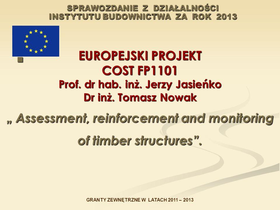 """SPRAWOZDANIE Z DZIAŁALNOŚCI INSTYTUTU BUDOWNICTWA ZA ROK 2013 EUROPEJSKI PROJEKT COST FP1101 Prof. dr hab. inż. Jerzy Jasieńko Dr inż. Tomasz Nowak """""""