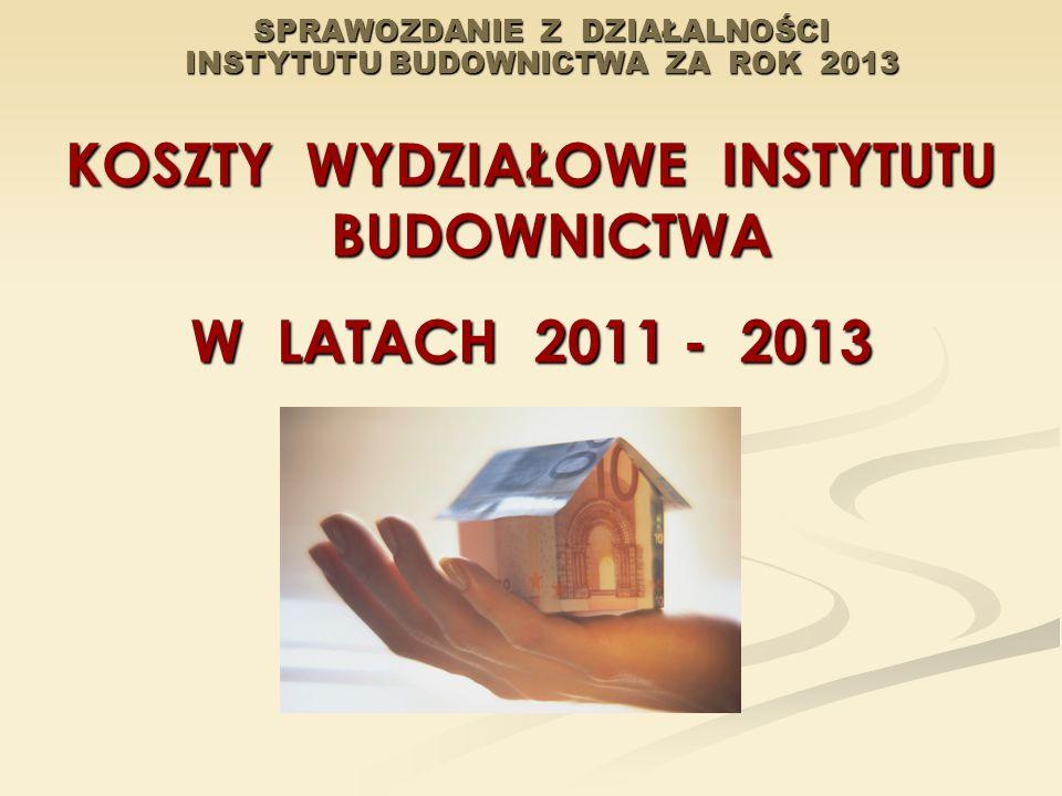 SPRAWOZDANIE Z DZIAŁALNOŚCI INSTYTUTU BUDOWNICTWA ZA ROK 2013 KOSZTY WYDZIAŁOWE INSTYTUTU BUDOWNICTWA W LATACH 2011 - 2013