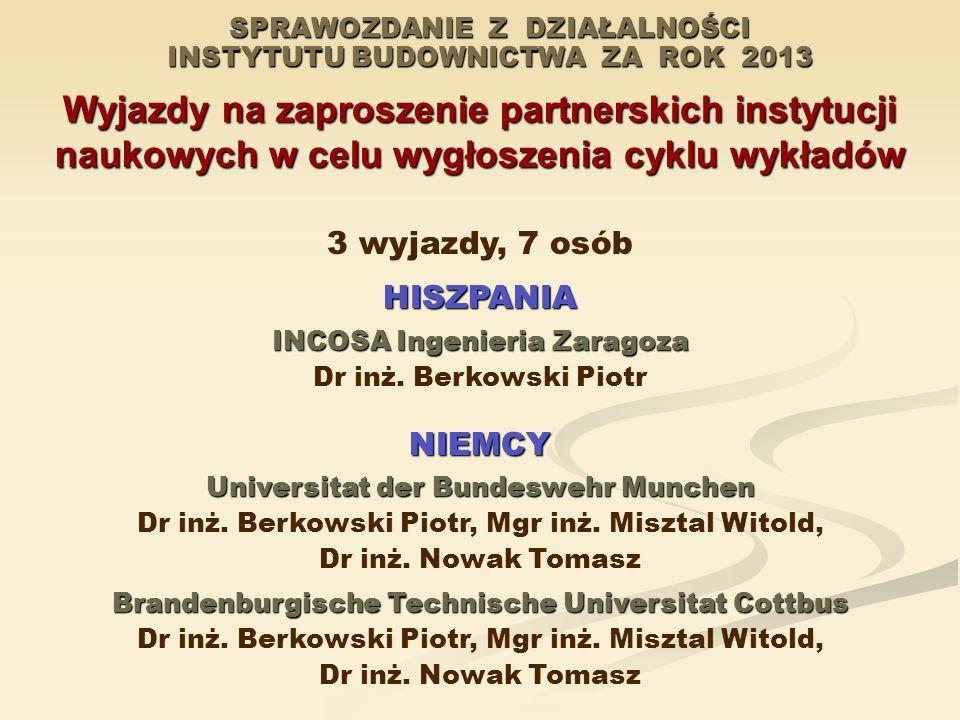 SPRAWOZDANIE Z DZIAŁALNOŚCI INSTYTUTU BUDOWNICTWA ZA ROK 2013 Wyjazdy na zaproszenie partnerskich instytucji naukowych w celu wygłoszenia cyklu wykładów 3 wyjazdy, 7 osóbHISZPANIA INCOSA Ingenieria Zaragoza Dr inż.