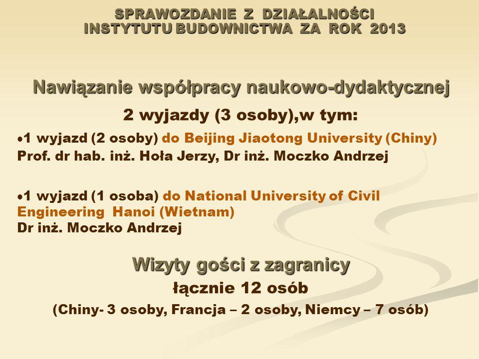 SPRAWOZDANIE Z DZIAŁALNOŚCI INSTYTUTU BUDOWNICTWA ZA ROK 2013 Nawiązanie współpracy naukowo-dydaktycznej 2 wyjazdy (3 osoby),w tym:  1 wyjazd (2 osob