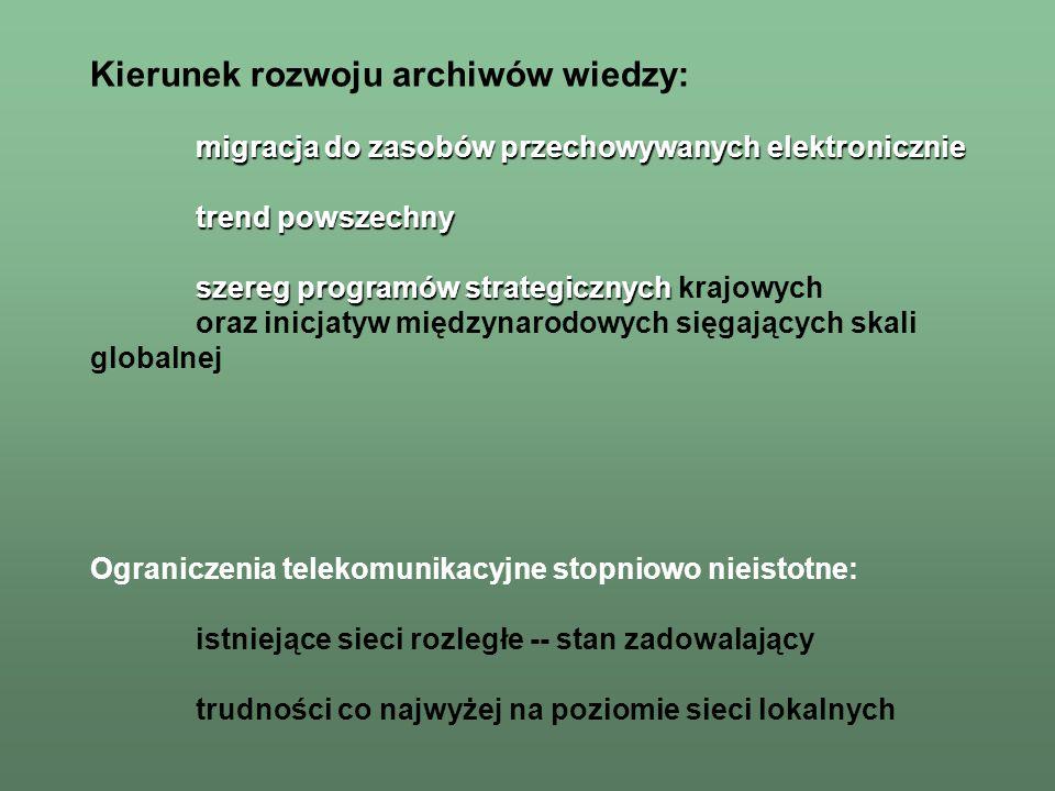 Zasoby tworzone bwn: Zasoby tworzone w systemie bwn: –bazy bibliograficzne (abstrakty, indeksy), migrujące do standardów umożliwiających integrację z bazami zagranicznymi podobnego typu ( ISI: SCI-Ex i pełne środowisko Web of Knowledge, OVID: Medline, INSPEC,...): obecnie: bazy bibliografii polskich czasopism biologicznych, rolniczych, a także technicznych obszary możliwe do włączenia do systemu bwn: w szczególności medycynę, nauki matematyczne