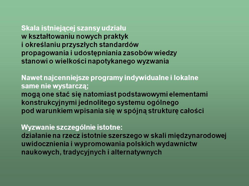 Skala aktywności nauki w Polsce uzasadnia celowość oraz tworzy warunki intelektualne i technologiczne podjęcia inicjatywy stworzenia ogólnokrajowego systemu wirtualnej biblioteki nauki Skala aktywności nauki w Polsce uzasadnia celowość oraz tworzy warunki intelektualne i technologiczne podjęcia inicjatywy stworzenia ogólnokrajowego systemu wirtualnej biblioteki nauki (i edukacji), której celem będzie: –nieograniczony dostęp do światowych zasobów wiedzy, –nieograniczony dostęp do światowych zasobów wiedzy, publicznych oraz komercyjnych: indeksy, bibliografie, abstrakty pełne teksty archiwa faktograficzne i multimedialne –stworzenie jednolitego systemu dostępu –stworzenie jednolitego systemu dostępu do szerokiej klasy zasobów, z efektywnymi narzędziami wyszukiwania i analizy zbiorów