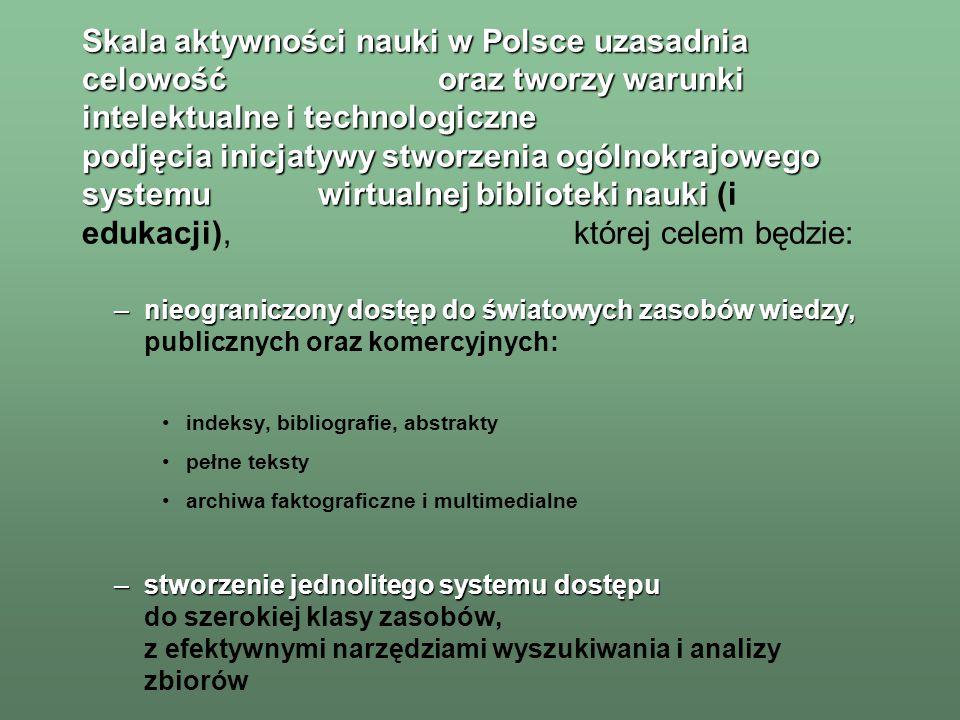 –stworzenie ujednoliconego systemu archiwów –stworzenie ujednoliconego systemu archiwów elektronicznych polskich zasobów naukowych, obejmującego: katalogi bazy bibliograficzne (abstrakty i indeksy) zbiory pełnotekstowe bazy faktograficzne interaktywne archiwa multimedialne archiwum zbiorów specjalnych –budowa archiwum zbiorów specjalnych –współdziałanie z projektami –współdziałanie z projektami tworzenia elektronicznych archiwów wiedzy w innych krajach i z inicjatywami międzynarodowymi