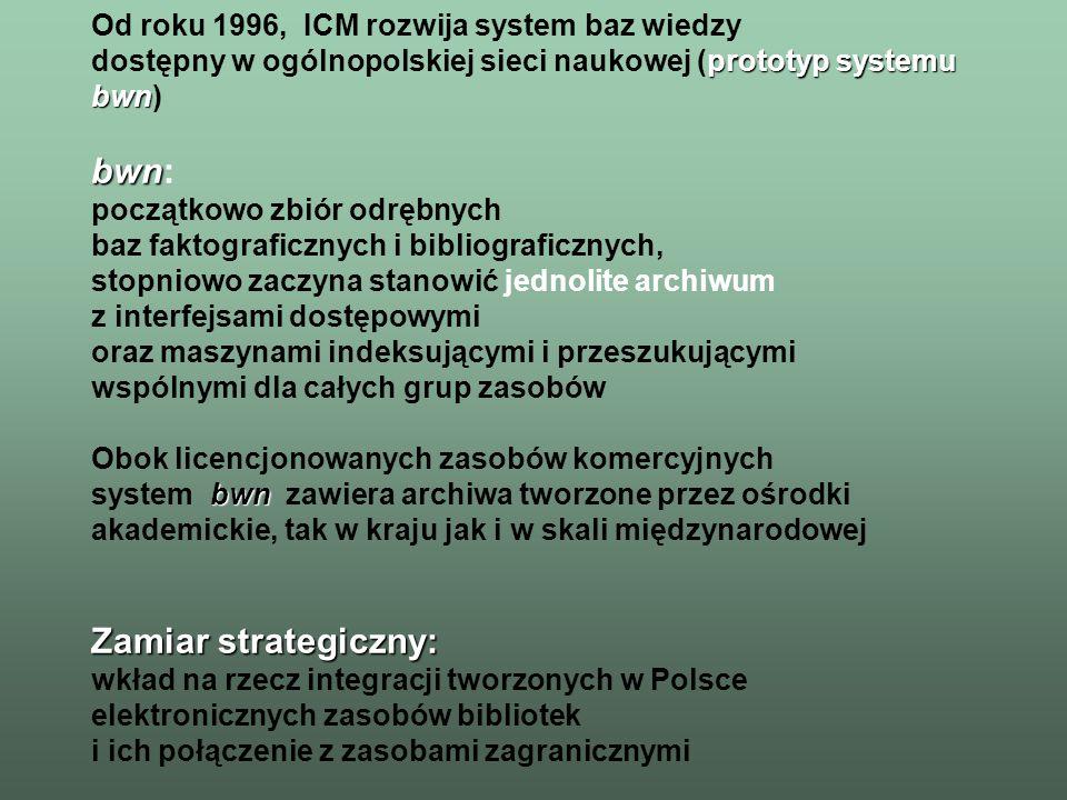 bwn Obecnie struktura systemu bwn obejmuje: –moduł licencjonowanych zasobów światowych baz bibliograficznych i indeksowych, kolekcje zasobów pełnotekstowych i faktograficznych –moduł zasobów tworzonych, w tym: polskie bazy bibliograficzno-indeksowe kolekcję pełnotekstowych wersji czasopism naukowych (polskich) podręczniki i monografie w wersji cyfrowej archiwum cyfrowe preprintów i rozpraw naukowych kolekcje specjalne interaktywne archiwum multimedialne