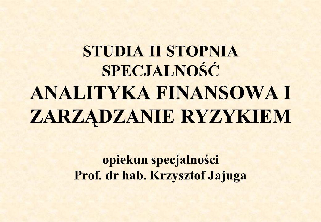 STUDIA II STOPNIA SPECJALNOŚĆ ANALITYKA FINANSOWA I ZARZĄDZANIE RYZYKIEM opiekun specjalności Prof.