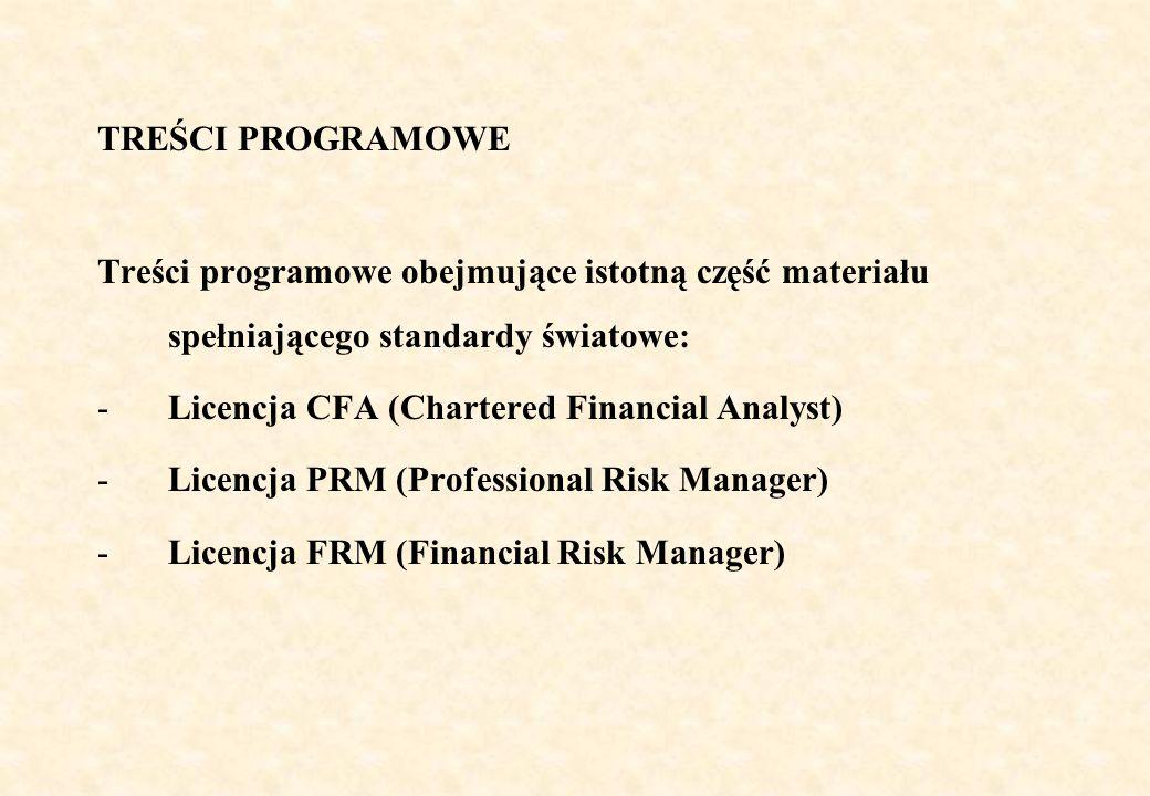 TREŚCI PROGRAMOWE Treści programowe obejmujące istotną część materiału spełniającego standardy światowe: -Licencja CFA (Chartered Financial Analyst) -