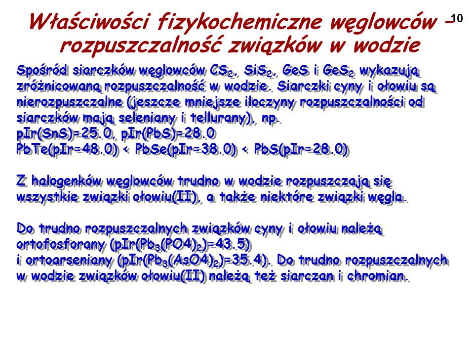 10 Właściwości fizykochemiczne węglowców – rozpuszczalność związków w wodzie Spośród siarczków węglowców CS 2, SiS 2, GeS i GeS 2 wykazują zróżnicowan