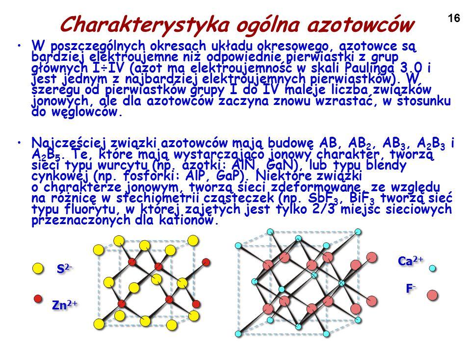16 Charakterystyka ogólna azotowców W poszczególnych okresach układu okresowego, azotowce są bardziej elektroujemne niż odpowiednie pierwiastki z grup