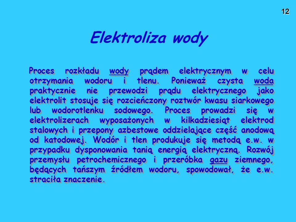 12 Proces rozkładu wody prądem elektrycznym w celu otrzymania wodoru i tlenu. Ponieważ czysta woda praktycznie nie przewodzi prądu elektrycznego jako