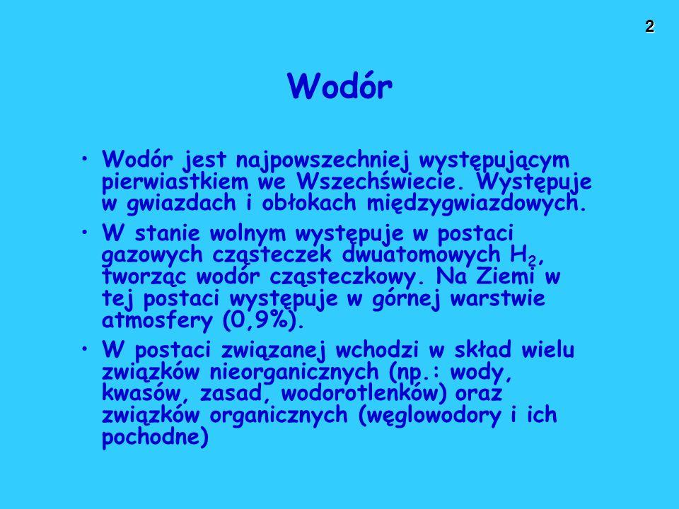 2 Wodór Wodór jest najpowszechniej występującym pierwiastkiem we Wszechświecie. Występuje w gwiazdach i obłokach międzygwiazdowych. W stanie wolnym wy