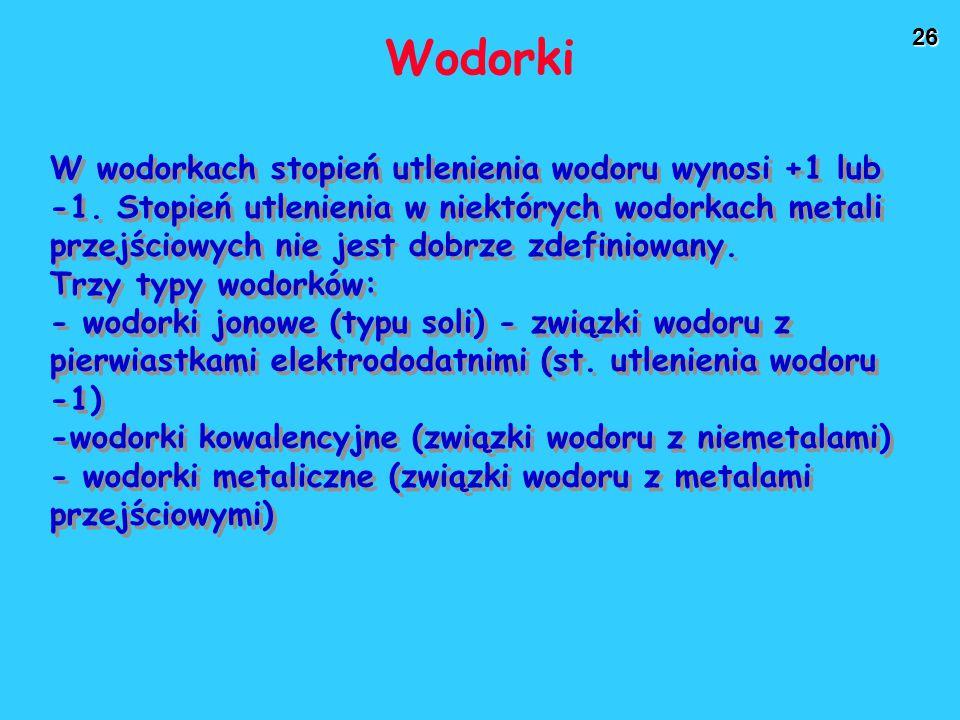 26 Wodorki W wodorkach stopień utlenienia wodoru wynosi +1 lub -1. Stopień utlenienia w niektórych wodorkach metali przejściowych nie jest dobrze zdef