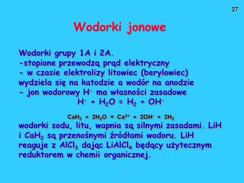 27 Wodorki jonowe Wodorki grupy 1A i 2A. -stopione przewodzą prąd elektryczny - w czasie elektrolizy litowiec (berylowiec) wydziela się na katodzie a