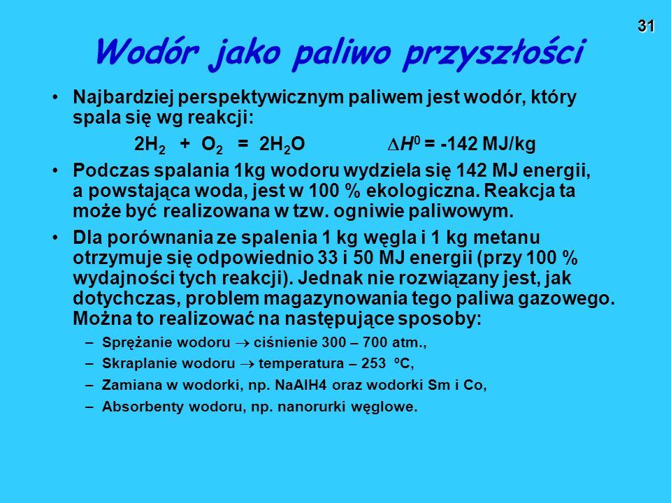31 Wodór jako paliwo przyszłości Najbardziej perspektywicznym paliwem jest wodór, który spala się wg reakcji: 2H 2 + O 2 = 2H 2 O  H 0 = -142 MJ/kg P
