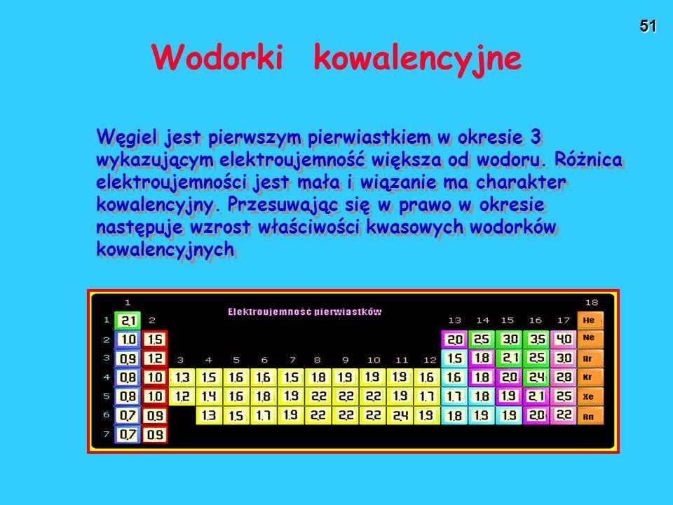 51 Wodorki kowalencyjne Węgiel jest pierwszym pierwiastkiem w okresie 3 wykazującym elektroujemność większa od wodoru. Różnica elektroujemności jest m