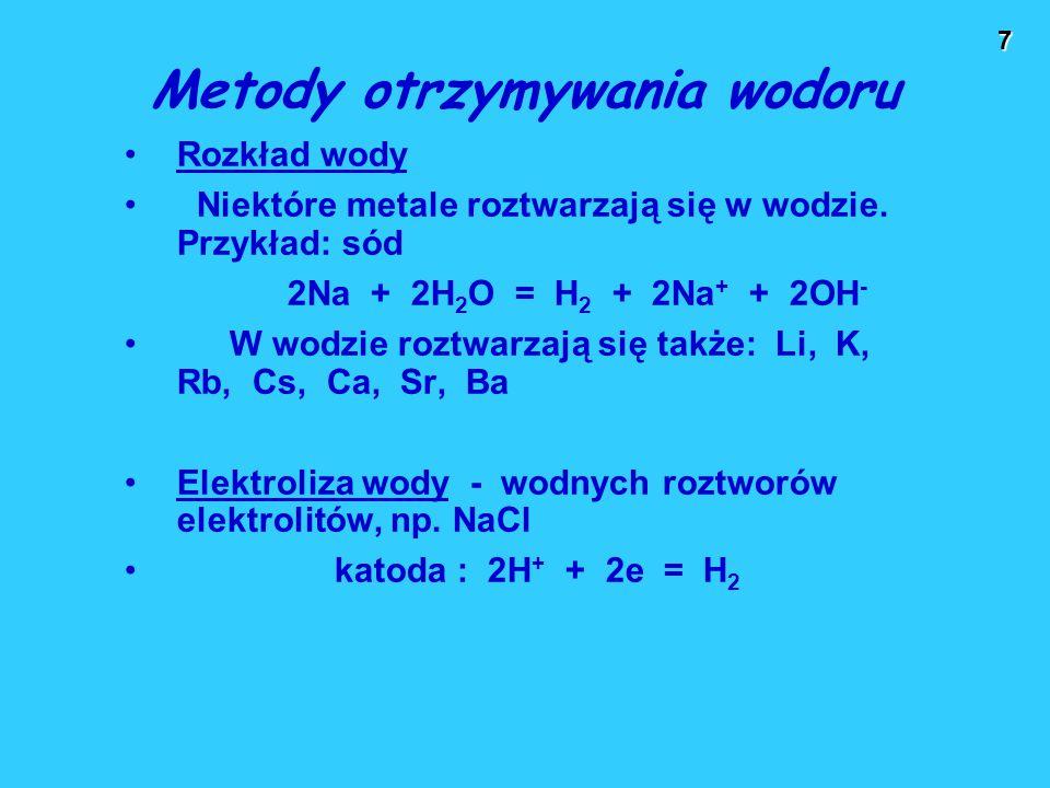 8 Metody otrzymywania wodoru Z kwasów i zasad w reakcji z metalami nieszlachetnymi metal nieszlachetny + kwas  wodór Zn + 2H + = Zn 2+ + H 2 Fe + 2H + = Fe 2+ + H 2 amfoteryczny metal nieszlachetny + zasada  wodór Zn + 2OH - + 2H 2 O = [Zn(OH) 4 ] 2- + H 2 2Al + 2OH - + 6H 2 O = 2[Al(OH) 4 ] - + 3H 2