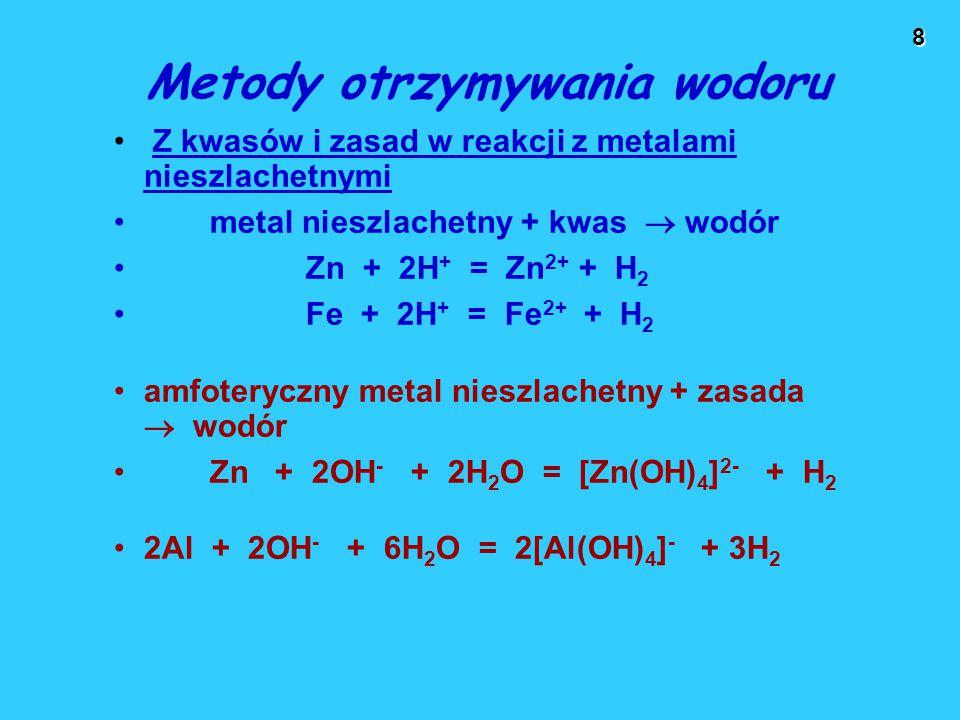 8 Metody otrzymywania wodoru Z kwasów i zasad w reakcji z metalami nieszlachetnymi metal nieszlachetny + kwas  wodór Zn + 2H + = Zn 2+ + H 2 Fe + 2H